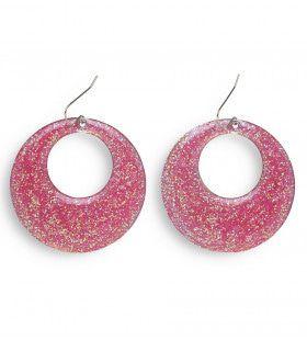 70s-80s Roze Glitter Oorbellen