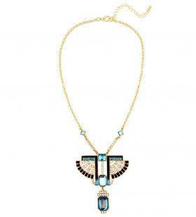 Egyptische Ketting Goud Farao Met Topaas / Strass Steen