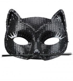 Ms Purrr Oogmasker Kat Met Zwarte Pareltjes