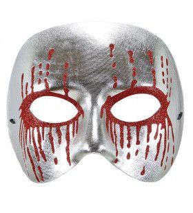 Masker Psychopaat Zilver Met Bloedende Ogen Bloody Pierot