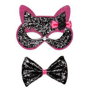 Kitty Cat Oogmasker Kat Met Strikje Zwart / Roze