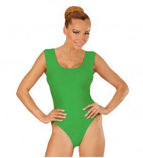 Unicolor Mouwloze Body Volwassen, Groen