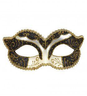 Luxe Oogmasker Hertogin, Zwart / Goud Glitter