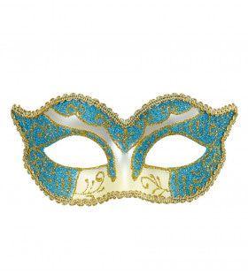 Luxe Oogmasker Hertogin, Azuur / Goud Glitter