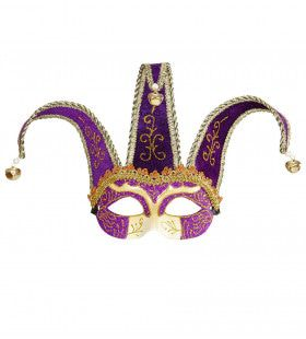 Nar Oogmasker, Joker Met Decoratie Glitters, Paars