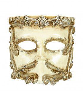 Rococo Luxe Barok Casanova Masker Ivoor Met Strass