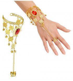 Arabische Vinger Pols Armband Met Muntjes En Rode Steen