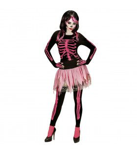 Neon 80s Roze Skelet Dames Vrouw Kostuum