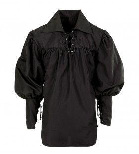 Musketier Shirt Zwaardvechter Zwart Man