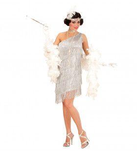 Amerikaanse Weelderigheid Flapper Zilver Vrouw Kostuum