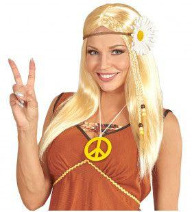 Dammy Pruik, Hippie Met Bloemenkrans Blond