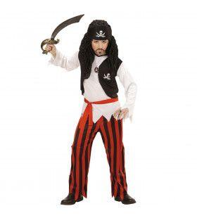 Zwart-Rode Piraten Jongen Kostuum