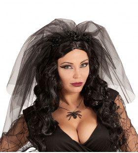 Dark Bride Zwarte Sluier Met Bloemen