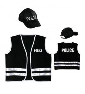 Zwart Politievest Met Cap, Kind