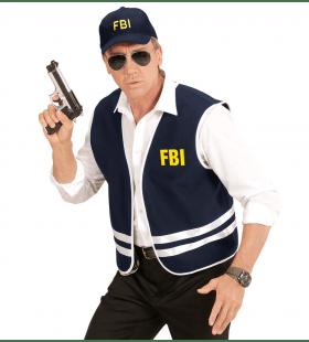 Zwart Fbi Vest Met Cap Volwassen