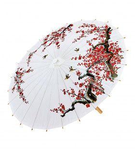 Hanzou Oosterse Paraplu Rijstpapier, Wit