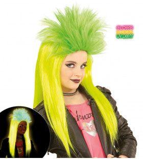 Neon Rock Pruik Kind Punk Geel / Groen