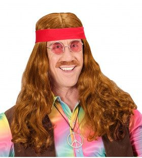 Rijkelijke Pruik, Hippie Met Hoofdband En Snor