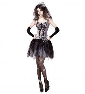 Skinny Skelet Bruidje Vrouw Kostuum