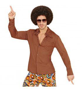 Groovy Garry 70s Heren Shirt, Bruin Man