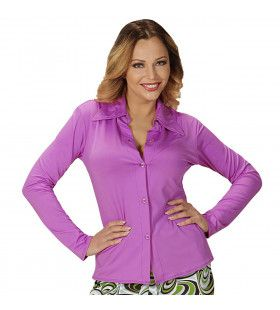 Groovy Gina 70s Dames Shirt, Paars Vrouw