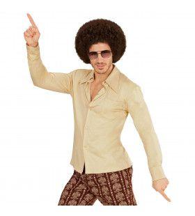 Groovy Garry 70s Heren Shirt, Beige Man