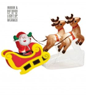 Opblaasbare Kerstman Met 2 Rendieren 244 Centimeter