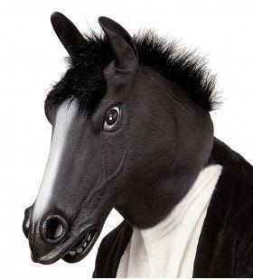Cartoony Masker, Zwart Paard Met Haar