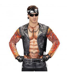 Lange Mouwen Rocker / Biker Tattoo T-Shirt Man