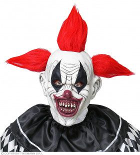 Afgrijselijke Scary Clown Masker Met Vreemd Kapsel