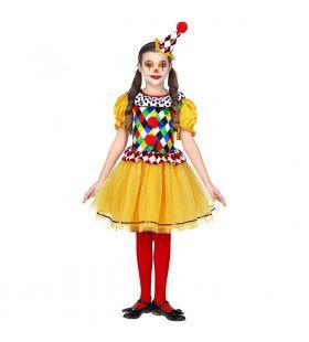 Jolige Clown Vrolijke Kleuren Meisje Kostuum