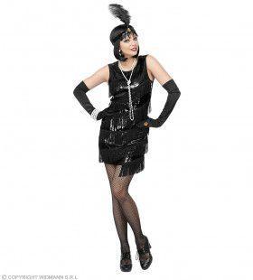Donkere Jaren 20 Flapper Vrouw Kostuum