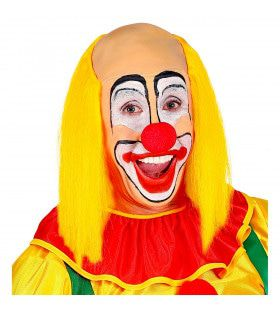 Kale Schedel Met Lang Geel Haar Clown