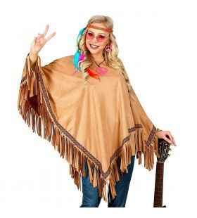 Luxe Zandbruine Indianen Poncho Lonesome Cowboy