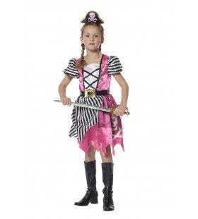 Superstoer Piratenmeisje Roze Kostuum