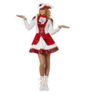 Fancy Rood Witte Dansmarieke Kort Dameskostuum Vrouw Kostuum