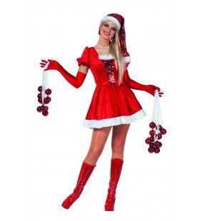 Stralende Kerstvrouw Pailletten Kostuum