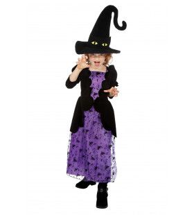 Heks Paars Met Zwarte Kat Hoed Meisje Kostuum