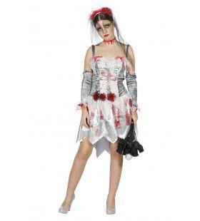 Bloedmooie Zombie Bruid Vrouw Kostuum