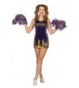 Paillettenjurk Cheerleader Paars / Goud Vrouw