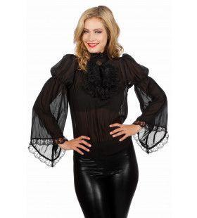 Piraten / Gothic Blouse Zwart Wijde Mouw Vrouw