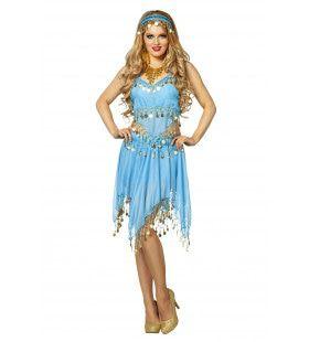 Zwoele Oosterse Set Met Veel Muntjes Blauw Vrouw Kostuum