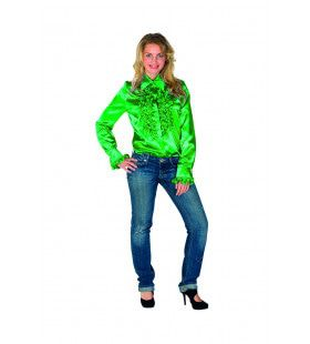 Gave Groene Ruches Blouse Vrouw