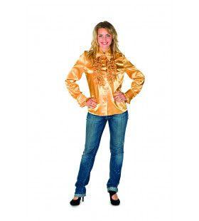 Glanzend Gouden Ruches Blouse Vrouw