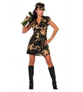 Bruin Groene Jungle Commando Camouflage Kostuum Vrouw
