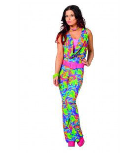 Boogie All Night Disco Jumpsuit Lang Vrouw Kostuum