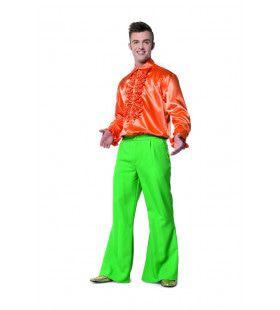 Flitsende Wijde Pijpen Broek Groen Man