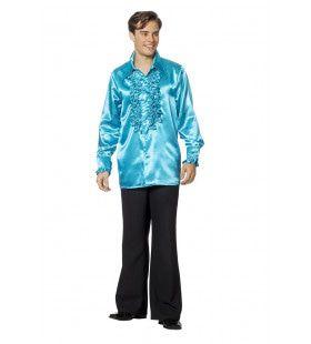Dolle Disco Ruches Blouse Aqua Blauw Man