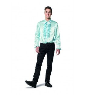 Dolle Disco Ruches Blouse Mintblauw Man