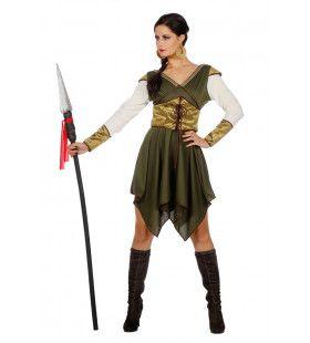 Zegevierende Middeleeuwse Amazone Strijdster Gwen Vrouw Kostuum